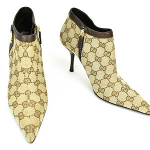 """Gucci Beige Jacquard """"Gg"""" Logo Leather Short Boots"""